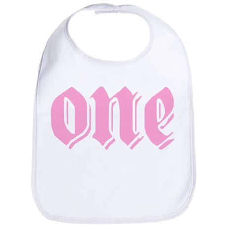 ONE birthday girl pink Bib