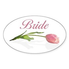 Pink Tulip Bride Oval Decal