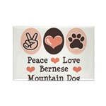 Peace Love Bernese Mountain Dog Rectangle Magnet (