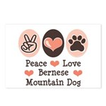 Peace Love Bernese Mountain Dog Postcards (Package