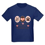 Peace Love Bernese Mountain Dog Kids Dark T-Shirt