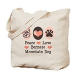 Peace Love Bernese Mountain Dog Tote Bag