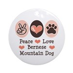 Peace Love Bernese Mountain Dog Ornament (Round)