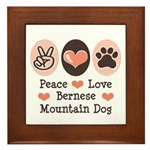 Peace Love Bernese Mountain Dog Framed Tile