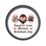 Peace Love Bernese Mountain Dog Wall Clock