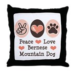 Peace Love Bernese Mountain Dog Throw Pillow