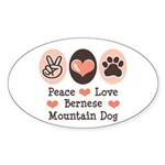 Peace Love Bernese Mountain Dog Oval Sticker