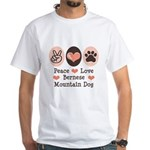 Peace Love Bernese Mountain Dog White T-Shirt