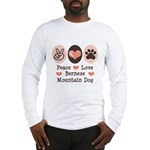 Peace Love Bernese Mountain Dog Long Sleeve T-Shir