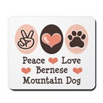 Peace Love Bernese Mountain Dog Mousepad