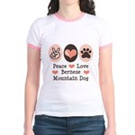 Peace Love Bernese Mountain Dog Jr. Ringer T-Shirt