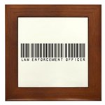 Law Enforcement Ofcr Barcode Framed Tile