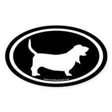 Basset Hound Oval (white on black) Oval Decal