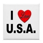I Love U.S.A. Tile Coaster
