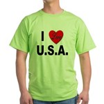 I Love U.S.A. Green T-Shirt