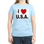 I Love U.S.A. Women's Pink T-Shirt