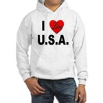 I Love U.S.A. (Front) Hooded Sweatshirt