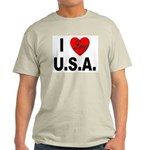 I Love U.S.A. (Front) Ash Grey T-Shirt
