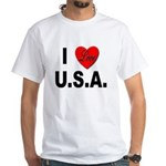 I Love U.S.A. (Front) White T-Shirt