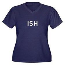ISH Women's Plus Size V-Neck Dark T-Shirt