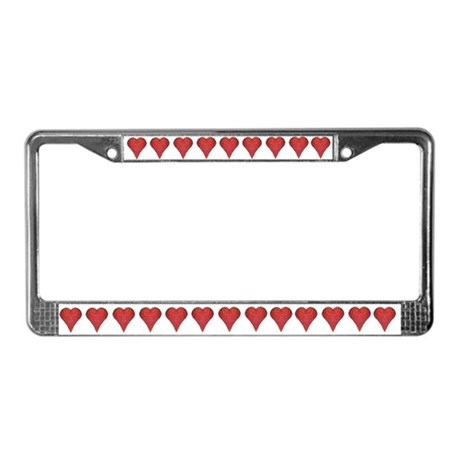 Strawberry Hearts License Plate Frame