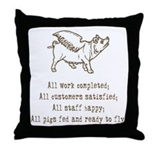 Pigs Ready to Fly Throw Pillow