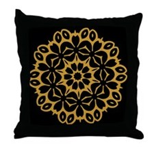 Gold/Black Single Doily Throw Pillow