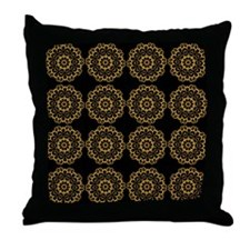 Gold and Black Doilies Throw Pillow