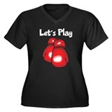 Let's Play Boxing Women's Plus Size V-Neck Dark T-