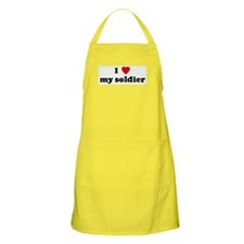 I Love my soldier BBQ Apron