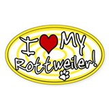 Hypno I Love My Rottweiler Oval Sticker Ylw