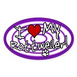 Hypno I Love My Rottweiler Oval Sticker Purp