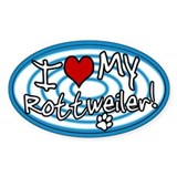 Hypno I Love My Rottweiler Oval Sticker Blue