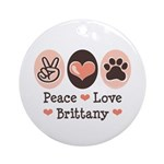 Peace Love Brittany Ornament (Round)