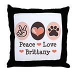 Peace Love Brittany Throw Pillow