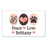 Peace Love Brittany Rectangle Sticker