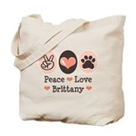 Peace Love Brittany Tote Bag
