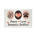 Peace Love Brussels Griffon Rectangle Magnet (100