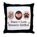 Peace Love Brussels Griffon Throw Pillow