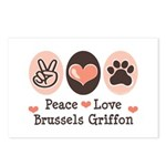 Peace Love Brussels Griffon Postcards (Package of