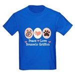 Peace Love Brussels Griffon Kids Dark T-Shirt