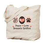 Peace Love Brussels Griffon Tote Bag