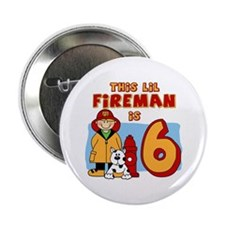 "Fireman 6th Birthday 2.25"" Button (100 pack)"
