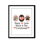Peace Love Coonhound Framed Panel Print