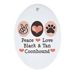 Peace Love Coonhound Oval Ornament
