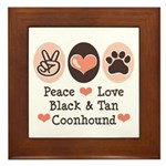 Peace Love Coonhound Framed Tile