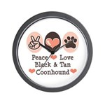Peace Love Coonhound Wall Clock