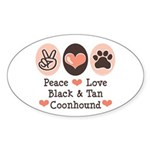 Peace Love Coonhound Oval Sticker