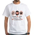 Peace Love Coonhound White T-Shirt
