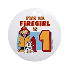 Firegirl First Birthday Ornament (Round)